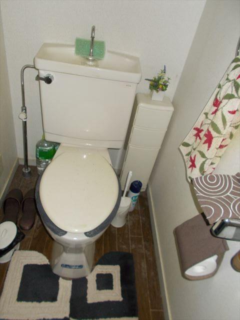 大きいタンクのついたトイレでウォシュレットもありませんでした。