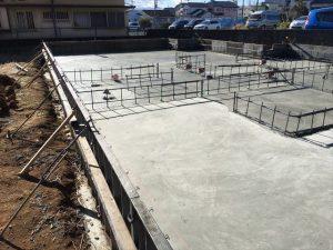 長泉町下長窪マイホーム新築工事 耐圧盤コンクリート打ち