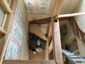 長泉町 下長窪マイホーム新築注文住宅 階段施工上から見た写真です