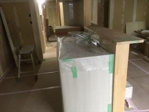 長泉町 下長窪マイホーム新築注文住宅  キッチン完成養生です