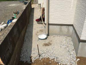 長泉町 下長窪マイホーム新築注文住宅 駐車場砕石敷きつめ工事