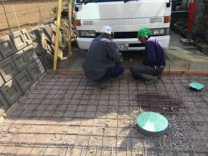長泉町 下長窪マイホーム新築注文住宅 駐車場コンクリート打ち