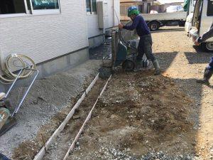長泉町 下長窪マイホーム新築注文住宅 西面ブロック積ベースコンクリート